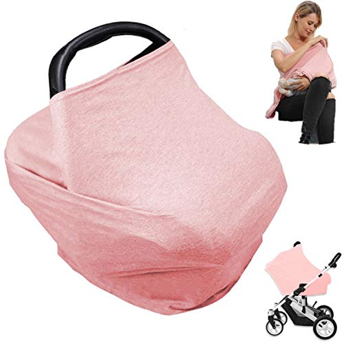 Car Seat Nursing Breastfeeding Cover, Thick Cozy Jersey Carseat Canopy Cover, Stroller Cover for Infant Babies, Extremely Stretchy, Amazing Soft, Convertible Multi Use 6 in 1, Nurse Gifts - Pink
