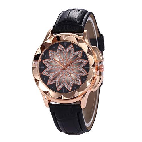 Relógio feminino HEMOBLLO elegante de liga de quartzo (preto)