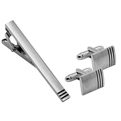 tumundo 2 Manschettenknöpfe + 1 Krawattennadel + Etui Set Cufflinks Silbern Hemd Krawatte Anzug Business Hochzeit Edelstahl, Variante:Modell 8