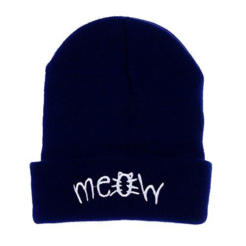 Zimuuy Beanie Mütze,Winter Stricken Hut Meow Gedruckt Snapback Hip Hop Cap (Schwarz)