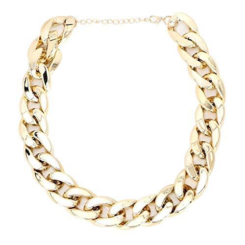 Maxmartt Plastic Fashionable Shiny Dog Choke Chain Choker Decoration Collar for French Bulldog(Gold)