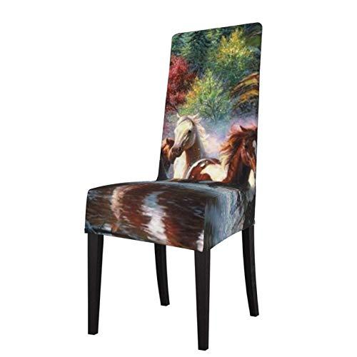 Fundas para sillas Indios nativos Americanos Caballos Comedor Fundas para sillas Fundas elásticas Fundas para sillas extraíbles y Lavables Protector para Cocina, Restaurante, Fiesta, ceremon