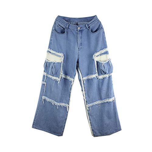 Moda Primavera Vintage Hit Color Alto Cintura Jeans Mujer Pantalones Largos Vaquero Femenino Female Streetwear Blue L
