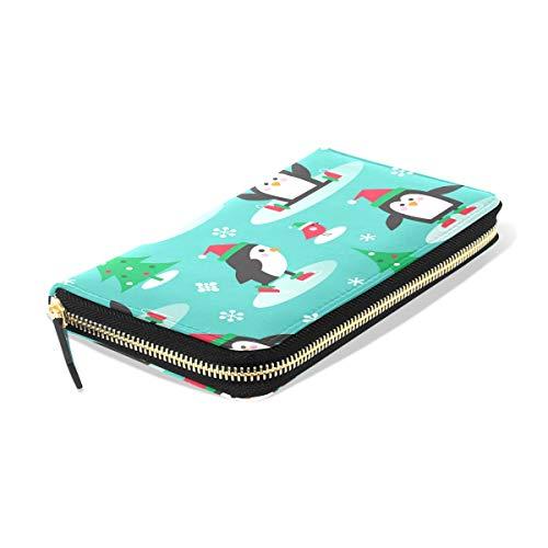 Ahomy Damen Portemonnaie Pinguine auf Schlittschuhen Leder Clutch Lange Geldbörse mit Reißverschlusstasche