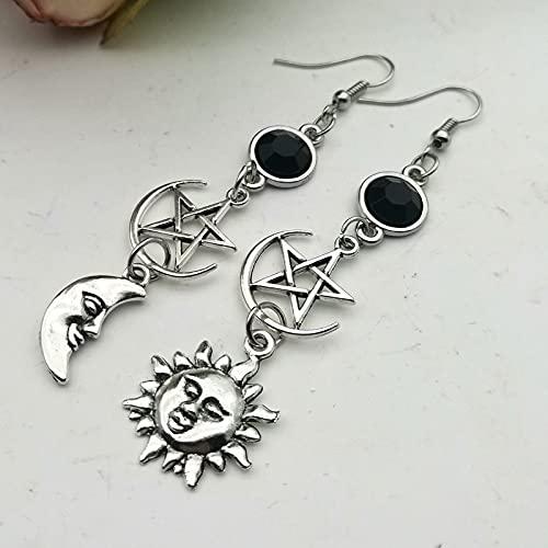 xuyang Pendientes con piedra natal negra de la diosa creciente y pentagrama bruja luna, joyería gótica celestial y sol (color metal: 2)