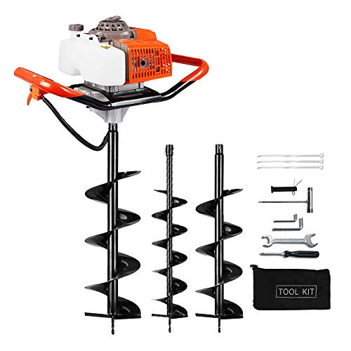 ECO LLC Earth Auger Power Head Heavy Duty with 63CC, 2 Cycle, Powered-Digger-Extention-Stroke-Person-Powerhead Full Engine Post Hole Digger Auger Petrol Drill Bit Earth Borer +2 Bit 6' 8'