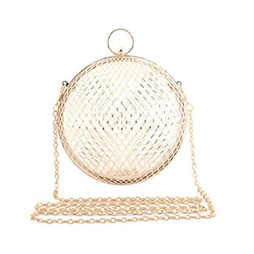 TENDYCOCO Bolso Bandolera de Cadena para Mujer Bolsa de Jaula Ahuecada Bolsa de Cadena de Embrague Redonda de Metal Diseño de Bola para Mujer Uso Diario de Banquete de Dama (Dorado)