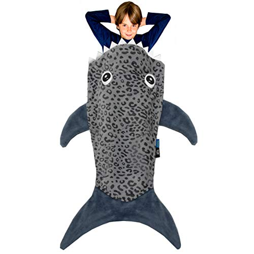 Blankie Tails | Shark Blanket, New Shark Tail Double Sided Super Soft and Cozy Minky Fleece Blanket, Machine Washable Wearable Blanket (56'' H x 27'' (Kids Ages 5-12), Gray)
