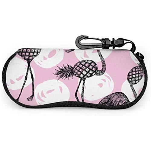 Mei-shop Piña rosa popular con Flamingo Funda de gafas de sol para mujer Funda de gafas delgada Funda de cremallera de neopreno Funda de gafas juveniles