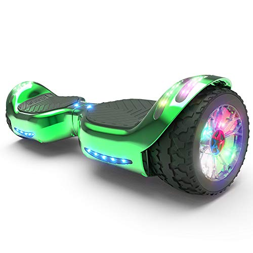 HOVERSTAR Hoverboard All-Terrain LED Flash Wheel with Bluetooth Speaker LED Light Self Balancing Wheel Electric Scooter (Chrome Green)