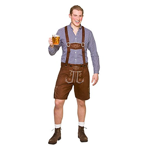Adult Mens Deluxe Authentic Suede Lederhosen (One Size) Oktoberfest/Bavarian Fancy Dress Costume Adult - One Size