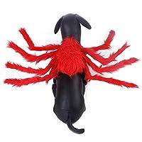 ペット服 犬猫用 ハロウィン コスチューム 巨大な蜘蛛 シミュレーション クモ コスプレ 仮装 衣装 小中型犬 猫服 かわいい かっこいい おもしろい 変身服 記念撮影 お出掛け レッド