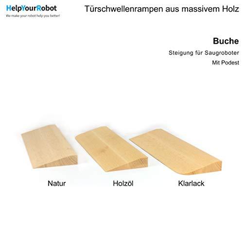 Türschwellenrampe für Saugroboter - Konfigurierbar aus Massivholz (Buche) (Buche natur (geschliffen), Höhe 15 mm)
