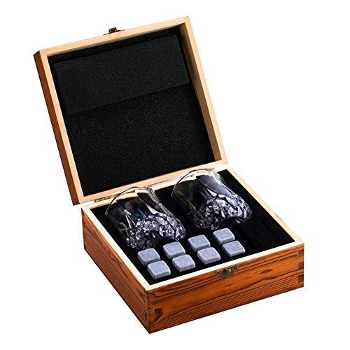 N\C Set de vino Caja de regalo de piedras de whisky Set de regalo Whisky Rocks con vasos Caja de madera Regalo de cumpleaños