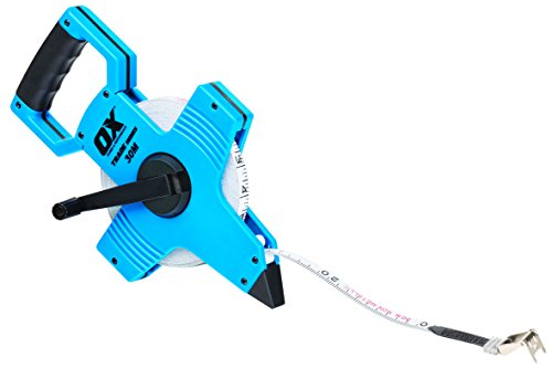 OX Tools OX-T023503 OX Comercio Cinta métrica de Carrete abierto-30M / 100FT, Azul/Negro, 30m