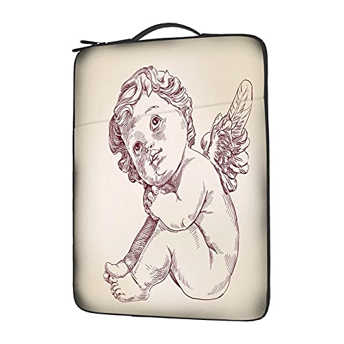 EKOBLA 14 Inch Angel Compatible Computer Laptop Sleeve Full Print Case with Invisible Zipper Polyester