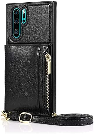 SLDiann Case for Huawei P30 Pro, Zipper Wallet Case with Credit Card Holder/Crossbody Long Lanyard, Shockproof Leather TPU Case Cover for Huawei P30 Pro (Color : Black)
