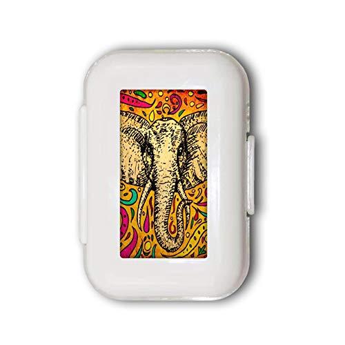 Sunok Afrikaanse Indiase olifant artistieke tekening pil doos pil case pil organisator decoratieve dozen pil doos voor zak of portemonnee - 8 compartiment pil doos/pil case
