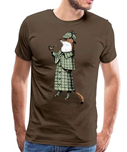 Tiere Humor Schlaues Wiesel Detektiv Männer Premium T-Shirt, XL, Edelbraun