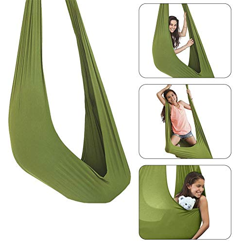 libelyef Indoor Therapy Swing, Hanging Seat Adjustable Aerial Flying Yoga Hammock Sensory Hammock For Sensory Integration Up To 200lbs, Ideal For Kids Or Adults Tree Rope Autism Therapy, 150x280CM