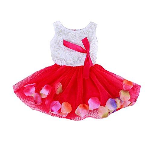 BOBORA Bébés Filles Princesse Robe sans Manches Robe avec Bow 0-4Ans (2-3Ans, Rouge)