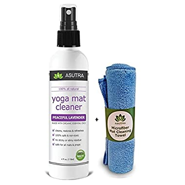 ASUTRA Sale! Best Yoga Mat Cleaner - Peaceful Lavender, 100% All Natural & Organic, No Sticky Or Slimy Residue, Safe for All MATS - Cleans, Restores, Refreshes + Free Microfiber Cleaning Towel
