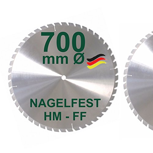 HM Sägeblatt 700 x 30 mm NAGELFEST FF Hartmetall FSP Kreissägeblatt 700mm für Bauholz Brennholz Schalholz Leimholz zum Sägen mit Wippsäge Tischkreissäge Kreissäge Kappsäge Brennholzsäge Tischsäge