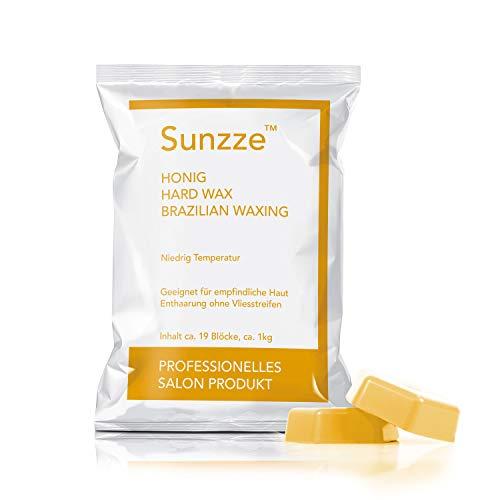 Sunzze Wachsblöcke Honig 1kg - Brazilian waxing für die Intimenthaarung - Hartwachs hot wax