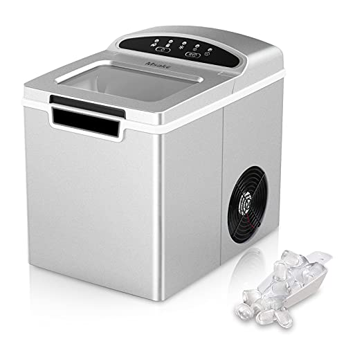 Msake Portable Ice Maker Countertop, 26.5 lbs. Ice in 24 Hours, 9 Bullet Cubes in 7 Mins, 1.9L Electric Ice Maker Machine for Countertop with Ice Scoop and Basket for Home/Kitchen/Office/Bar