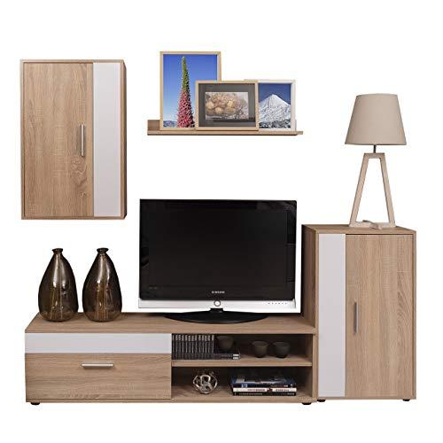Homely - Mueble de salón Modular Ibiza Mini Color Roble y Blanco de 190 cm