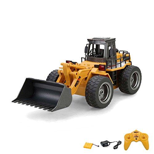 RC Auto kaufen Baufahrzeug Bild: 2.4GHz RC ferngesteuerter Bagger Baustellen-Fahrzeug, Modell mit viele Metallbauteile, schwenkbarer Schaufel Radlader, Ready-To-Drive, Komplett-Set RTR*