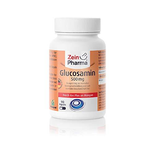 ZeinPharma Glucosamin 500 mg 90 Kapseln (Monatspackung) mit Mangan Hergestellt in Deutschland, 52 g