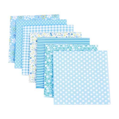 SUPVOX 7 Piezas de Tela de Retazos Acolchados Cuadrados de Algodón Edredón Precortado Coser Telas Florales para Manualidades de Bricolaje (Azul)