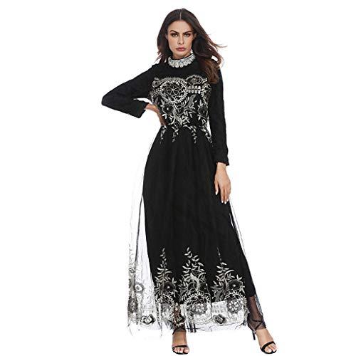 Robe Musulmane Femme Longue, Musulman Abaya Robes Longues Maxi Robes De la Dentelle Robes Dubaï Turc Islamique Arabe Caftan Dubaï pour Les Femmes Robes élégantes Protection UV