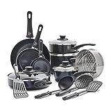 GreenLife Soft Grip Diamond Healthy Ceramic Nonstick, Cookware Pots and Pans Set, 16 Piece, Black