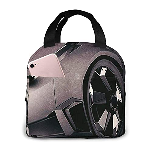 Bolsa de almuerzo con aislamiento de coche deportivo negro mate para mujeres y hombres, bolsa de almuerzo reutilizable, organizador de lonchera con bolsillo frontal
