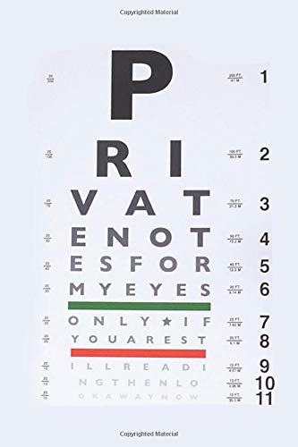 Snellen Eye Chart Notebook: Blank Lined Ruled For Writing 6x9 120 Pages