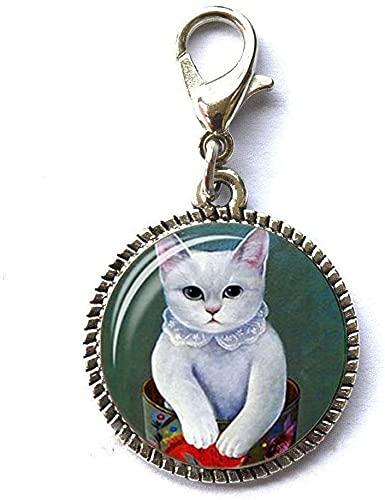 Encantos de gatos únicos con cremallera y cierre de cremallera para tirar de la joyería de cristal de arte de la foto de la
