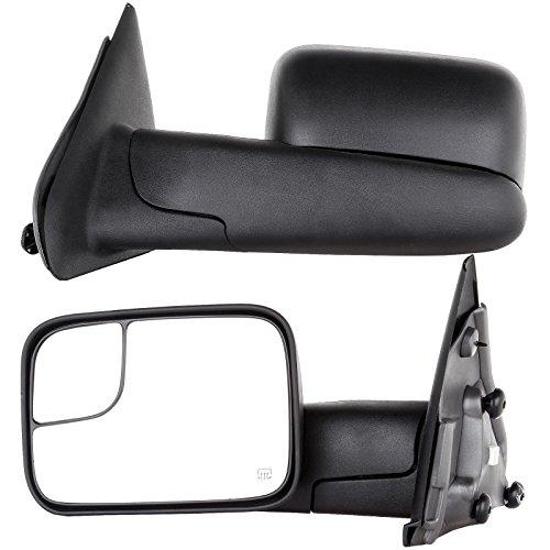 OCPTY Tow Mirrors Power Adjusted Heated Towing Mirrors for 2002-2008 Dodge Ram 1500 Pickup Truck 2003-2009 Dodge Ram 2500 Pickup Truck with Black housing Manual Flip Up