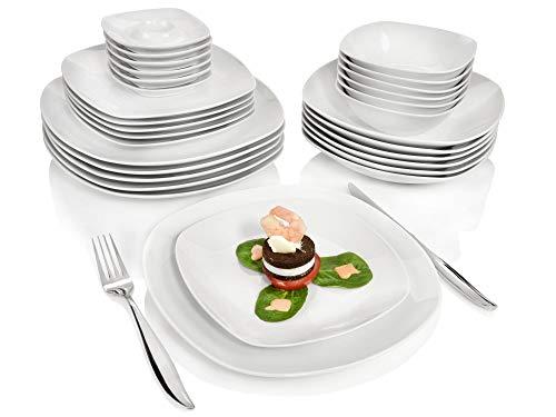 Sänger Kombiservice Bilgola aus Porzellan 30 teilig | Tafelservice für 6 Personen | Geschirrservice beinhaltet Speise- Dessert- und Suppenteller sowie Schalen und Eierbecher