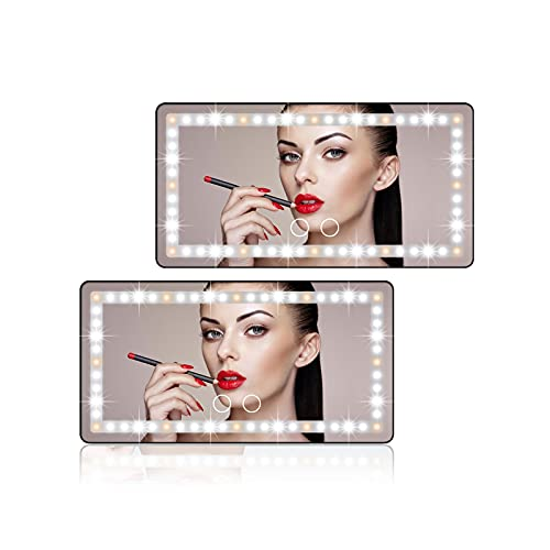 Car Sun Visor Vanity Mirror, 2 Pcs Rechargeable Makeup Mirrors with 3 Light Modes & 60LEDs - Dimmable Clip-on Rear View Sun-Shading Cosmetic Mirror with Touch on Screen, Universal for Truck SUV(Black)