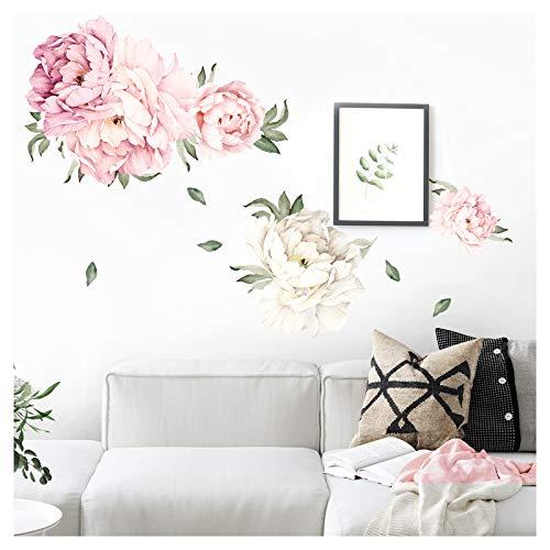 Wandaro Wandtattoo Pfingstrosen Blüten und Blätter I Wandbild 97 x 54 cm (BxH) I Wandaufkleber Wohnzimmer Schlafzimmer Wandsticker Kinderzimmer Mädchen DL553