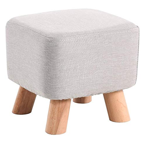 FLYFASH Wooden Stool, Upholstered Footstool, Footrest, Change Shoes Stool, with Removable Linen Cover and 4 Wooden Legs for Living Room and Bedroom Chair