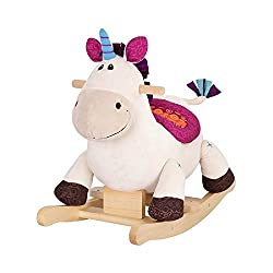 DILLY DALLY is a classic plush rocking unicorn with a soft and squishy feel, straight from the enchanted forest. WOOD HANDLES: Natural hardwood on the handles and the rockers for a classic feel! Hop on and hang on! CLIP-CLOP: Hear the clip-clop of th...