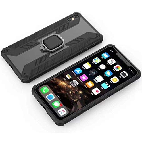 Personality Phone Case for iPhone Xs Max, Iron Warrior Shockproof PC + TPU Protective Case with Ring Holder (Color : Black)