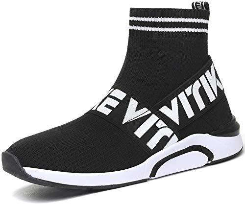 Zapatillas para Mujer Altas Aire Libre y Deporte Transpirables Casual Yoga Zapatos Gimnasio Correr Sneakers, 7 Negro, 40 EU