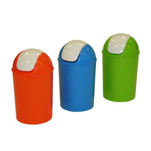 Axentia Mülleimer mit Schwingdeckel, Abfallbehälter für die Küche, Bad oder Kinderzimmer, geruchsdicht, 25 Liter Abfalleimer, 30 x 50 cm, 25 Liter, grün, blau oder orange