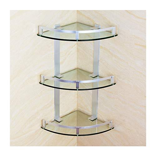 W-shelves 3 Tier Badezimmer Eckregale Startseite Modernes Glas Aluminium Dusche Regal Storage Rack Wand Befestigte Toilette Zubehör (Size : 28cm)