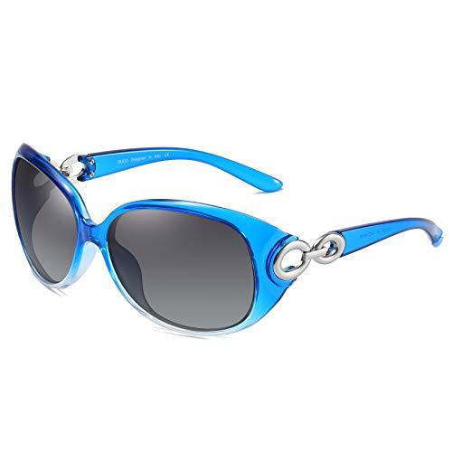 DUCO Damen Sonnenbrille polarisiert Klassisch Stern 100% UV-Schutz 1220 (Hellblau)