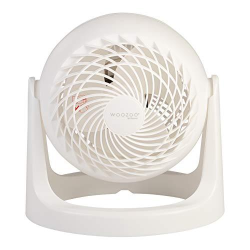 Woozoo by Ohyama, Ventilador de mesa / ventilador de escritorio potente y silencioso, 30W, Hélices 3D patentadas, Rotación de 360°, 3 velocidades, Para superficie 13m² - Woozoo PCF-HE15 - Blanco